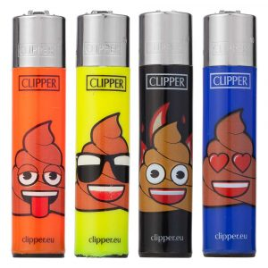 Lot de 4 briquets Clipper Maxi - Emoji Poo