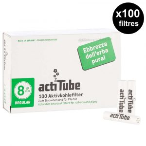 box of 100 filters acti tubes 8 mm
